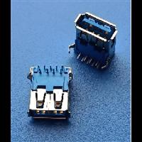 USB 3.0连接器PBT蓝胶带铁壳90度弯脚卷边 /直边