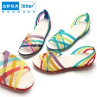 迪特洞洞鞋 七彩塑料凉拖鞋女平跟镂空手工编织鱼嘴沙滩鞋