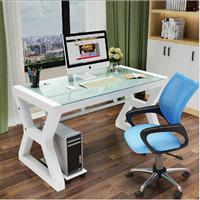 家用电脑桌台式桌钢化玻璃办公桌简约现代书桌创意桌子办公写字台