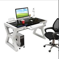 钢化玻璃电脑桌 时尚电脑桌 家用电脑桌家用办公一体化
