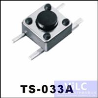 4P卧式贴片SMD/常规轻触开关TS-033A 加长PIN针