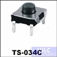 4PIN插板DIP/180度轻触开关TS-034C/圆柄按键