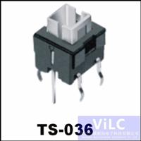 带LED灯槽-180度直插型轻触开关TS-036
