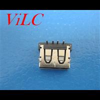 AF90度 短体10.6 USB母座 四圆脚插板 6.3H 直边 黑胶