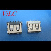 AF90度 USB短体10.0 四圆脚插板  铜壳 黑胶 白胶