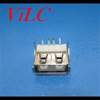 短体USB10.0 AF90度 后二脚DIP 卷边H=6.2【PBT白胶】
