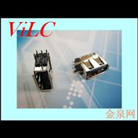 侧插式2.0 USB母座 中间O型脚 卷边AF 黑胶LCP