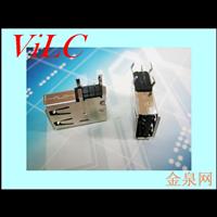 四脚侧插式 长体USB母座 卷边 铁壳 黑胶体 吸塑盘装