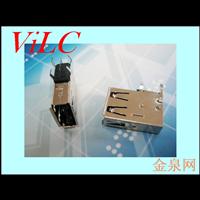 四弯脚侧立式USB母座-卷边A母 LCP黑胶 吸塑盘装
