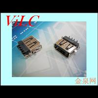AF沉板 插件式USB母座 胶芯反向 带翅膀 LCP黑胶
