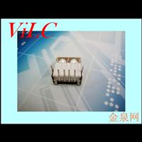AF90度14.5A母 尖弹 后二直脚 直边USB母座