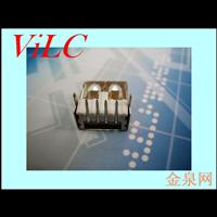 90度后二脚插件USB母座-AF/A母 长度14.5 尖弹片 铁壳