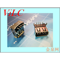 AF90度-卷边USB母座 一字型胶芯 铁壳 卷边
