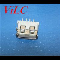 前两脚-A母90度 卷口USB母座 短体10.0 山字形白色胶芯