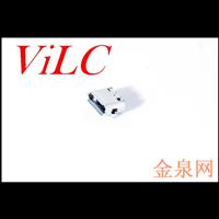 MICRO 5P母座-二脚插板 雾锡壳 LCP米黄胶 耐高温 编带