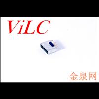 MICRO 5P平口 180度直插母座 二脚直插固定 编带 LCP黑胶