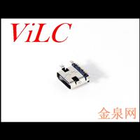 短体TYPE-C 四脚全贴母座 16P单排焊板 卧式USB3.1插座