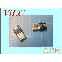 超薄MICRO 5P公头 胶芯加长 双面焊线