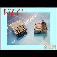 AF90度内扣弯脚-一字型黑胶/USB 卷口母座 生产厂家供应