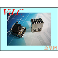 AF90度-加高型三只脚两鱼脚插件式 垫高 卷口USB母座