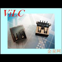 AF90度-弯脚DIP-T型黑胶无边/平口USB母座 盘装