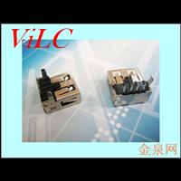 90度弯脚DIP-USB母座-直边 有后盖 铁壳/铜壳 厂家生产供应