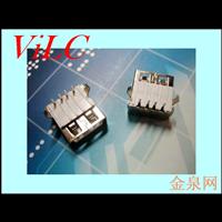 AF外扣弯脚90度(半包型米黄胶)无边 /平口USB母座