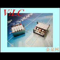 A母90度-弯脚DIP/直边铁壳USB母座 半包米黄胶