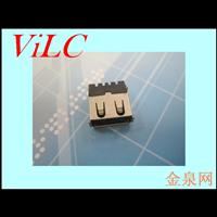 USB厂家供应-A母超薄 鱼叉短脚DIP 卷边USB母座