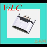MICRO 5P USB母座-180度插脚 二脚DIP 雾锡壳 编带