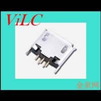 双排针直插式MICRO 5P母座-镀金3U-二脚直插 卷边V8尾插