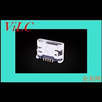 MICRO 5P母座 插脚5.65 平口直边-迈酷洛母座-有柱 带焊盘