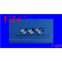 USB3.0AM-贴片式沉板2.2-无柱 镀金15U 蓝色胶芯 9P公头