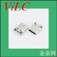 二脚卡板=24P夹板SMT-TYPE C母座-铆压USB3.1插座