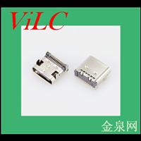 板上型24P-TYPE C母座/四短脚插件-双排针贴板SMT 编带