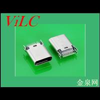 立式180度夹板TYPE C母座/24P卡板-二脚DIP 冲压不锈钢