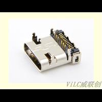 USB母座TypeC快充板上母座前插后贴24P大电流充电插头