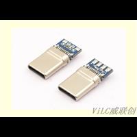 夹板式TYPEC拉伸公头卡板typeC公座华为带板数据插头