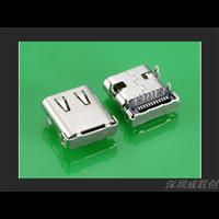 四脚DIP插件式TYPEC母座24P前插后贴SMT环保耐高温