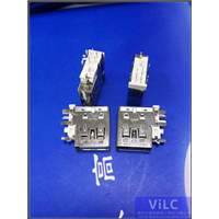 5P侧插USB母座中间带脚5脚DIP进口5A大电流侧立垫高型