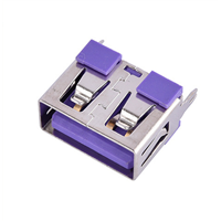 A母USB连接器180度直立式5安大电流短体母座紫色胶芯