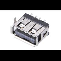 A母USB短体母座贴板SMT插脚卷边充电USB母座黑胶
