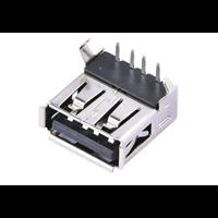 USB座A母90度插板usb插座USB连接器母座黑胶卷边