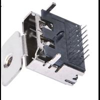 A型HDMI高清接口高清连接器19P母座三排针插板有耳带螺丝孔