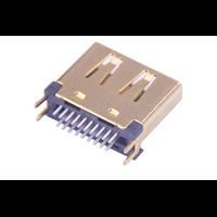 HDMI19P母座180度夹板式铜壳卡板式SMT高清连接器高品质