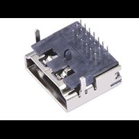 HDMI母座A型19Pin三排90度两脚插板DIP高清接口