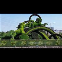 八骏图仿真绿雕造型