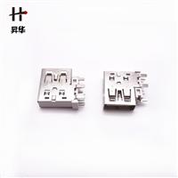 侧插USB-(oppo原装母座) 大电流五脚DIP-白胶直边 1:1AF