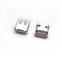 type-c母座24p 前12插后12贴 四脚插板 有弹片 带定位柱