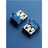 3.0USB母座 9p 90度弯脚 直边 垫高6.5 蓝胶